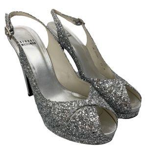 Stuart Weitzman 'Grace' Glitter Platform Heel